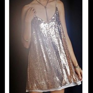 Free People Rose Sequin Chiffon Strappy Back Dress